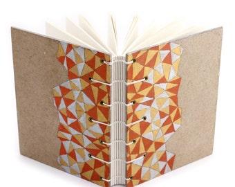 Lay Flat Metallic Triangles Journal - handmade by Ruth Bleakley