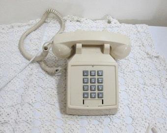 Telephone Push Button Ivory Desk Retro Decor