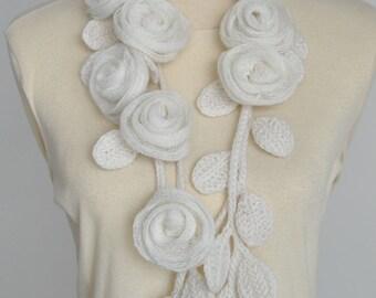 BELLA  - Cream - Handmade Rose Crochet Leaf Lariat