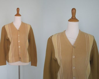 Classic 60s Mens Striped Cardigan - Vintage Tan Stripes Cardigan Sweater - Vintage 1960s Mens Cardigan S