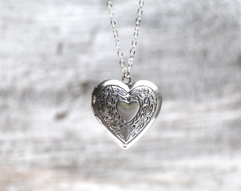 Silver HEART LOCKET Pendant Silver Wedding Bridal Bridesmaid Gift  LOVE