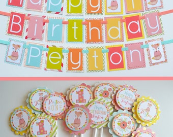 Fox Birthday Party Decorations | Fully Assembled Decorations | Fox Party | Girly Fox Theme Party Decorations | Fox Birthday Banner | Fox