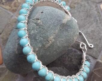 Blue Magnesite Turquoise Gemstone & Silver Wire Wrapped Bangle Bracelet
