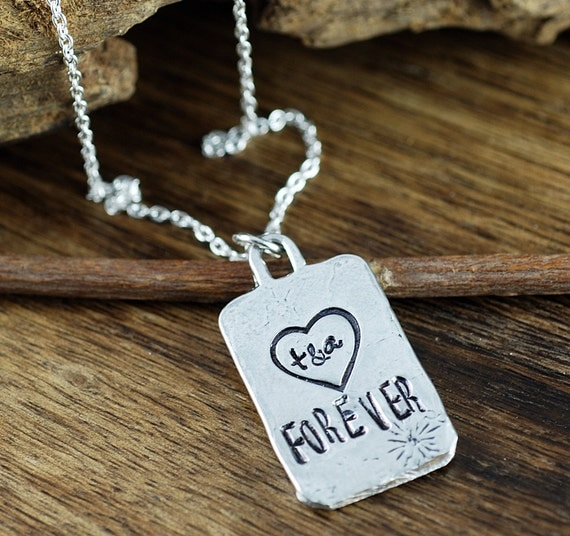 Anniversary necklace, Initial Heart Necklace, Forever Heart Necklace, Gift for Wife, Best friend Necklace, gift for BFF, Personalized gift