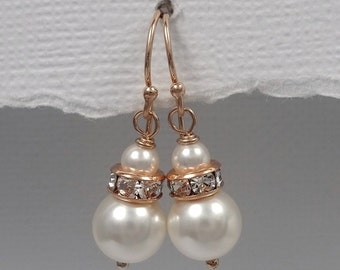 White Pearl Earrings, Bridesmaid Gift, Wedding Earrings, Swarovski Pearl Earrings, Rose Gold Earrings, Bridesmaid Earrings, Wedding Jewelry