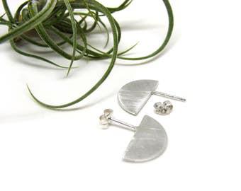 Baby Moon Silver Post Earrings