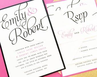 Wedding Invitations, Wedding Invites, Calligraphy Script, Black, White, Custom Colors | PRINTED SAMPLE