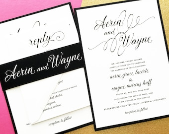 Wedding Invitations, Wedding Invites, Classic Wedding Invitations, Elegant Wedding Invitations, Black and White Wedding