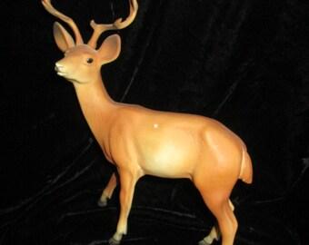 """Vintage Hard Plastic Deer  10 Point Buck 7-1/2"""" Tall"""