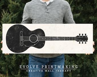 Acoustic Guitar Art on Wood Panel - Print on Wood - Custom Colors Available - Boys Room Decor - Guitar Gift - Music Art - Guitar Print #4