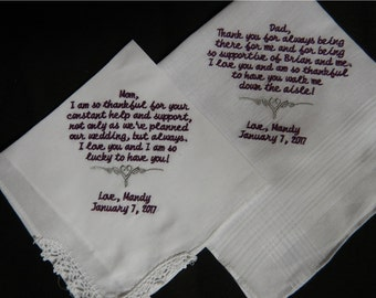 2 Wedding handkerchiefs - FREE SHIPPING - each under 40 words -beautiful mix and match - Your saying