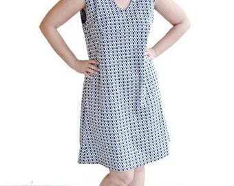 60s polka dot shift dress, large vintage dress, 1960s navy blue and white dress
