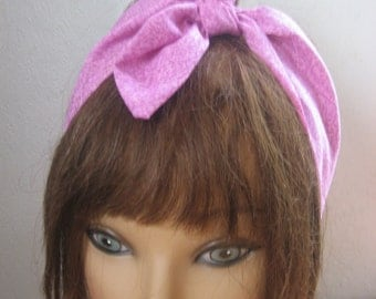 Bandana Head Band, SPRING Fashion, Hair Accessory, PINK, Pin Up Head Scarf,  Rockabilly, Dread Wrap, Head Wrap, Boho #258