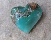 Large Chrysoprase heart - unique handmade gem stone heart from Australia - ooak heart rock - cuddle heart, contemplation stone