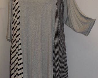 Coco and Juan, Plus Size Tunic, Asymmetrical Tunic Top, Gray, Black, White, Multi Stripe Knit, #1 Size 2 (fits 3X,4X)  Bust 60 inches