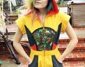 Vintage very unique one of a kind hooded jumpsuit//romper//onesie//unitard//pockets//yellow//floral patchwork//flare/wide leg pants/size S