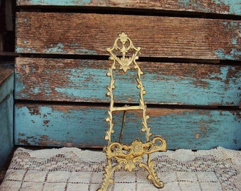 Vintage Brass Easel Picture Plate Stand Display Baroque Ornate Antique Gold Patina Metal Rococo French Country Victorian Display