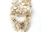 wedding large bracelet   fresh water pearls bridal jewelry   gold white bridal cuff   unique wedding bracelet   bead embroidered statement