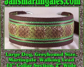 Jansmartingales, Brown Walking Lead, Collar and Lead Combination, Greyhound, Large Dog Size, Brn130