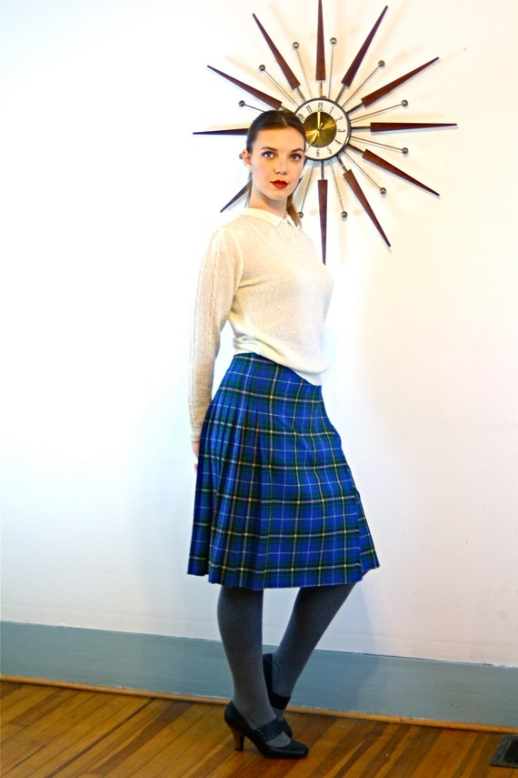 Vintage 60s Plaid Wool Wrap Skirt High Waisted Pleated Blue Green Yellow Black Knee Length Button 1960s Tartan Print Surrey Classics Skirt