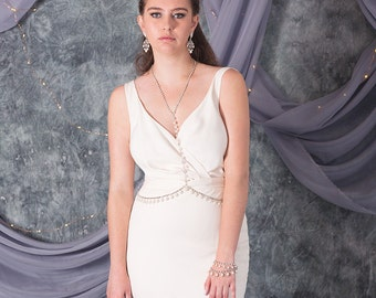Kelis Body Chain Necklace, Bohemian Bridal Necklace, Statement Body Piece, Crystal & Pearl Body Chain, Bridal Body Jewelry, Gypsy Necklace