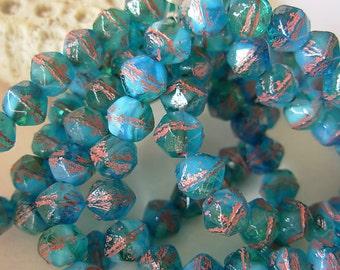 English Cut Beads, Czech Glass Beads, 8mm- Tropical Sea (12)