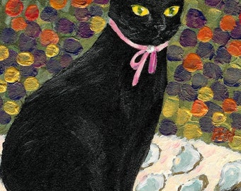"elegant cat painting acrylic ""A Black Cat On Oyster Mat"" portrait cat art print, pink ribbon pearl, cat lover's gift, A3 print A4, 6x8, 8x10"