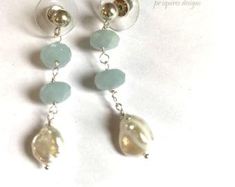 Aquamarine and fresh water pearl earrings