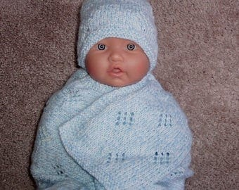 Custom handmade  knit baby Boys  ,blanket wrap, hat, booties set Layette  Baby shower gift ,Coming home dressing 0-12M Ready to Ship