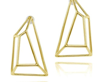 Gold Earrings, Geometric Earrings, 14K Earrings, Fine Jewelry, 14K Post Earrings, Bridal Earrings, Wedding Earrings, Fast Free Shipping