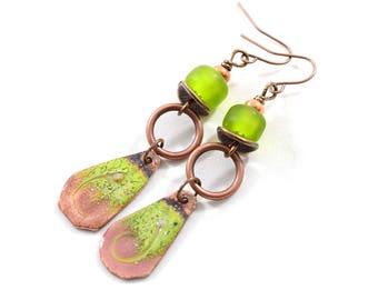 Green and Pink Copper Boho Chic Earrings, Antique Copper Earrings, Green Earrings, Artisan Earrings, Boho Earrings, OOAK, Long, AE090