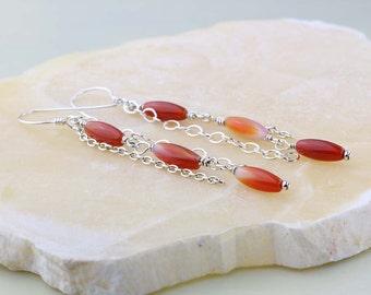 Orange Carnelian Earrings | Sterling Silver and Carnelian Gemstone Earrings | Long Dangle Earrings