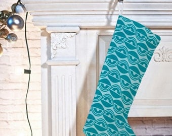Geometric Christmas Stocking // Christmas Decor // Holiday Decorating // Lazy Days Design // Modern Christmas // Aqua // Teal // Turquoise