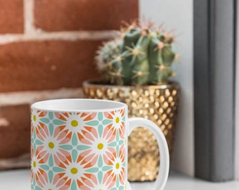 Geometric Floral Coffee Mug // Ceramic Coffee Cup // Tea Cup // Kitchen Drinkware // Home Decor // Crazy Daisy Design // Pink // Feminine