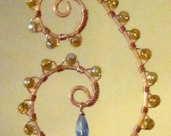Copper Spiraled Wire Wrapped Amber and Blue Glass Beaded Sun Catcher Hanging Mobile