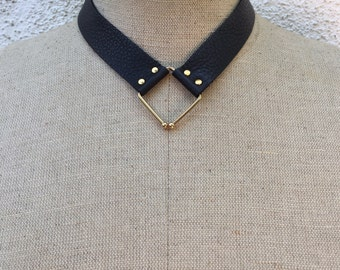 Petit Converge black leather collar necklace by Ankh by Racquel