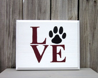 Love Sign, Painted Wood, Paw Print, Pet Love, Dog Paw Print, Cat Paw Print, Hand Painted, Barn Red, White, Black