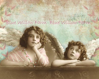 Instant Download Vintage Angels for cards, mixed media, altered art