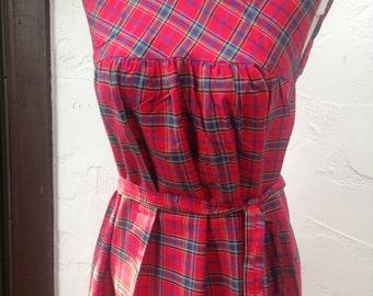 Darling 80's Does 50's Red Tartan Plaid DRESS / Handmade Red PLAID Dress with Waist Sash / Holiday Dress