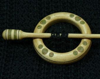 Llarissa Hand Turned Maple / Unakite Shawl Pin Set