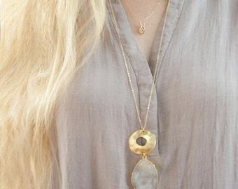 Druzy Necklace,Jasper Slice Necklace, Jasper Necklace, Jasper Druzy,Raw Stone Necklace,Organic, Gemstone Necklace,Gift for Her
