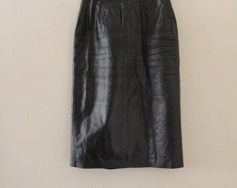 80's Black Leather Midi Skirt