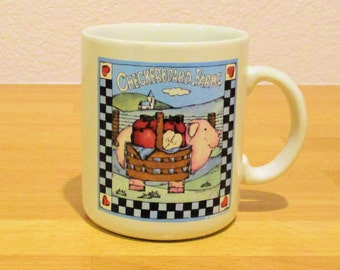 CHECKERBOARD FARMS MUG  Collectable Pig Apples