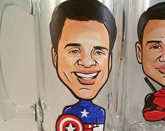 Custom Cool Groomsmen Gift - Color - Original Caricature Beer Mug - Super Hero