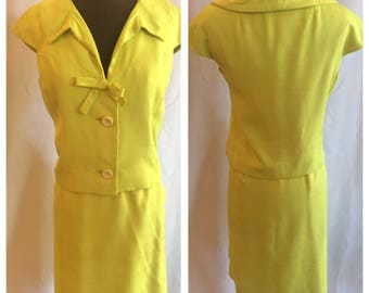 Classy 1960s Chartreuse Two Piece Jackie O Suit