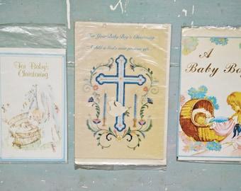 3 Vintage Baby Boy Cards. Vintage Christening Cards. New Old Stock. Blank Card. Baby Boy Card. Evelopes. Paper Ephemera. Vintage Card Lot.
