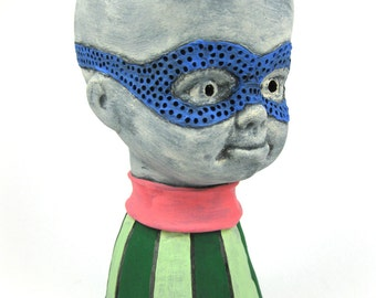 Blue Masked Pinhead Striped Green Pink Collar Stripes Polka Dot Bald Bust Baby Ghost Face Mask Creepy Scary Strange Weird Small Eerie Doll