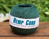 Green Hemp Cord,  1mm, 20lb,  430 Feet,  Dyed Hemp Twine, Green  Twine, Jewelry Twine, Forest Green -T71