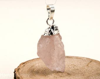 Rose Quartz Pendant,  1pc, 20-25mm,  Mixed Sizes,  Silver Plated Brass Loop -P221