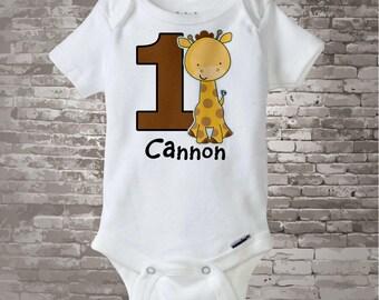 Personalized FIrst Birthday Giraffe Tee Shirt or Onesie, 1st Birthday Giraffe tee, Safari Theme (03142012d1)